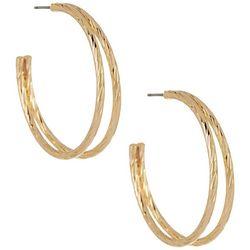 Napier Two Row Textured Hoop Earrings