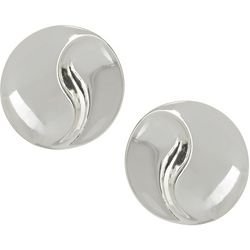 Napier Silver Tone Round Button Stud Earrings