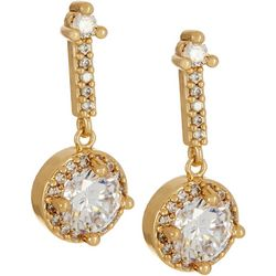 Napier Gold Tone Linear CZ Halo Round Drop Earrings