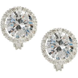 Napier CZ Halo Button Clip On Earrings