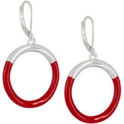 Napier Silver Tone & Enamel Ring Drop Earrings