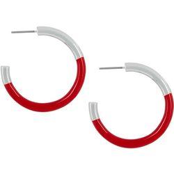 Napier Silver Tone & Enamel C Hoop Earrings