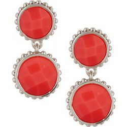 Napier Double Round Facet Clip On Drop Earrings