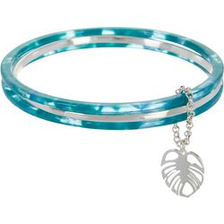 Napier 3-pc. Teal Blue & Silver Tone Bangle Bracelet Set