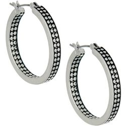 Napier Pattern Slice Textured Hoop Earrings