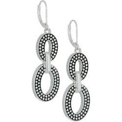 Napier Pattern Double Oval Link Drop Earrings