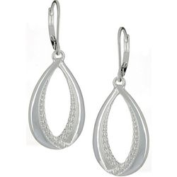 Napier Silver Tone Open Textured Teardrop Earrings
