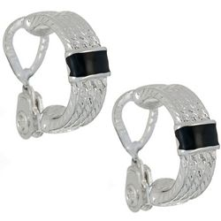 Napier Black & Silver Tone Wide Clip On Hoop Earrings
