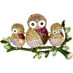 Napier Pave Rhinestones Owl Family Pin