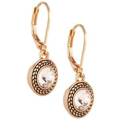 Napier Rose Gold Tone Glass Stone Earrings