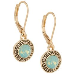 Napier Pacific Opal Glass Stone Gold Tone Earrings