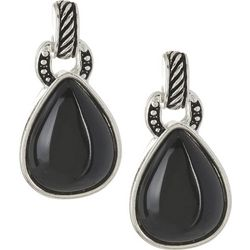 Napier Black Teardrop Post Back Earrings