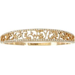 Napier Gold Tone Filigree Hinged Bangle Bracelet