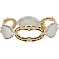 Napier Venetian Two Tone Oval Link Stretch Bracelet