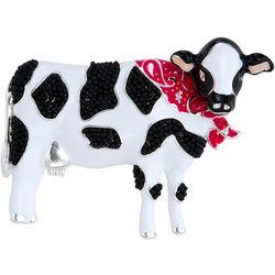 Napier Boxed Enamel Black & White Cow Pin