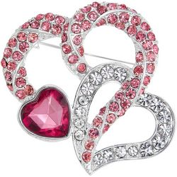 Napier Pink Multi Rhinestone Double Heart Pin
