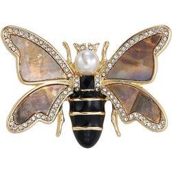 Napier Rhinestone & Shell Bumble Bee Pin