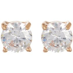 Napier 7mm Cubic Zirconia Rose Gold Tone Stud Earrings
