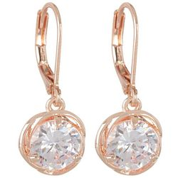 Napier 10mm Cubic Zirconia Rose Gold Tone Drop Earrings