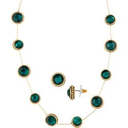 Napier Green & Gold Tone Collar Necklace Set