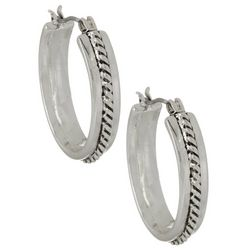 Napier Rope Design Silver Tone Hoop Earrings