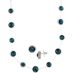 Napier Blue & Silver Tone Earring & Necklace