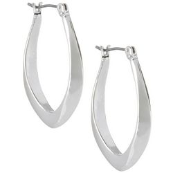 Napier Silver Tone Smooth Oval Hoop Earrings