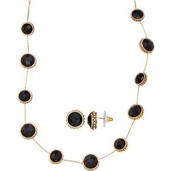 Napier Black & Gold Tone Earring & Necklace Set