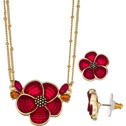 Napier Red Flower Pendant Necklace & Earring Set