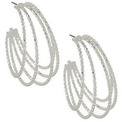Napier Silver Tone 4 Row Textured Hoop Earrings