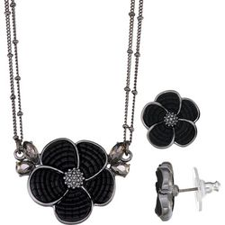 Napier Hematite Tone & Black Flower Necklace Set