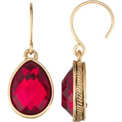 Napier Red Multi-Faceted Teardrop Earrings