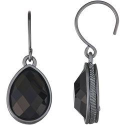 Napier Black Multi-Faceted Teardrop Earrings