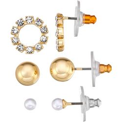 Napier 3-pc. Gold Tone Faux Pearl Ball Stud Earring Set