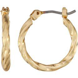 Napier Small Gold Tone Twist Hoop Earrings