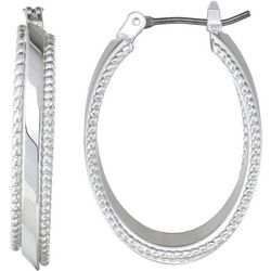 Napier Oval Textured Small Hoop Earrings