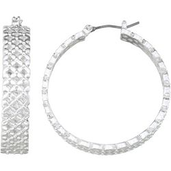 Napier Silver Tone Crisscross Cutout Hoop Earrings