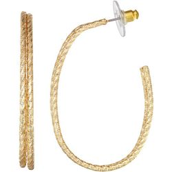 Napier Gold Tone Diamond Cut C Hoop Earrings