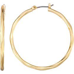 Napier Gold Tone Wavy Hoop Earrings