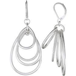 Napier Silver Tone Multi Row Teardrop Earrings