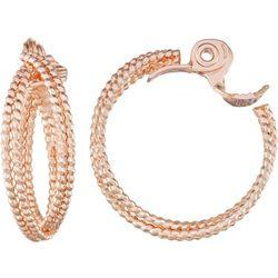 Napier Rose Gold Tone Crisscross Clip On Hoop Earrings
