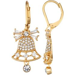 Napier Holiday Bell CZ Drop Earrings