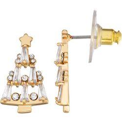 Napier CZ Gold Tone Christmas Tree Stud Earrings