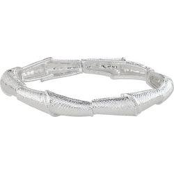 Napier Silver Tone Textured Link Stretch Bracelet