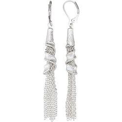 Napier Silver Tone Ribbon Chain Tassel Earrings