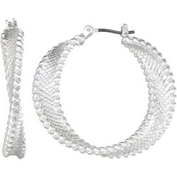 Napier Silver Tone Textured Twist Hoop Earrings