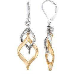 Napier Two Tone Swirl Dangle Earrings