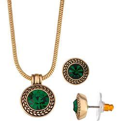 Napier Emerald Green Glass Pendant Necklace & Earring Set