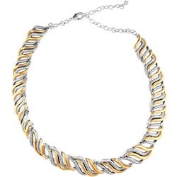 Napier Two Tone Swirl Textured Collar Necklace
