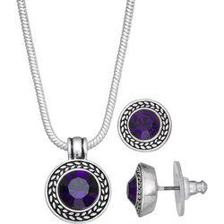 Napier Purple Glass Pendant Necklace & Stud Earring Set